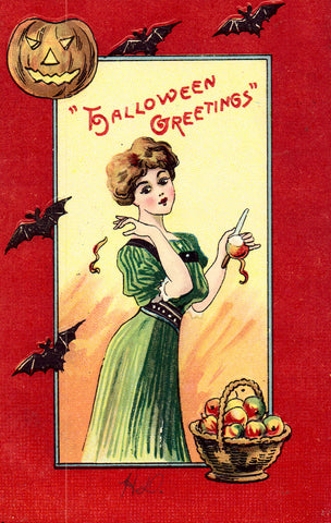Vintage Halloween Postcard, Woman Peeling Apples, Bats, Pumpkin, 1911
