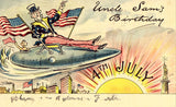 Vintage Postcard, Fourth of July Greetings, Uncle Sam, Statue of Liberty, 1909