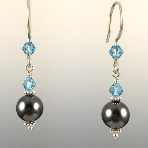 Dark Grey Swarovski Crystal Pearls & Swarovski Crystal Simple Drop Earrings - 8mm - Steven James Jewelry