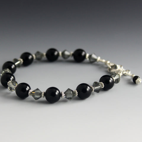 Swarovsi Crystal, Crystal Pearl and Sterling Silver Bracelet - Steven James Jewelry