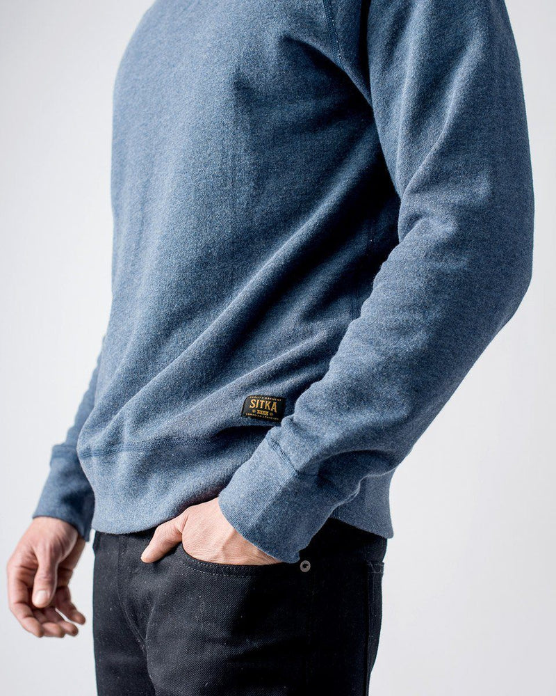 Sitka - ecologyst Men's Organic Mid Weight Terry French Cotton Crewneck - Heather Lake Blue - The 375 Terry Crew - Side Detail