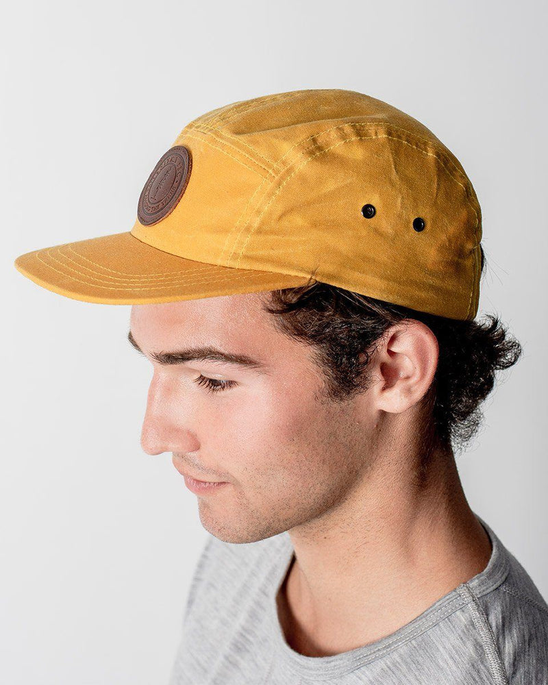 Sitka The Waxed Camp Cap Cotton Canvas Premium Leather SSC Patch Adjustable Metal Clasp 5-panel Hat - Rover Yellow
