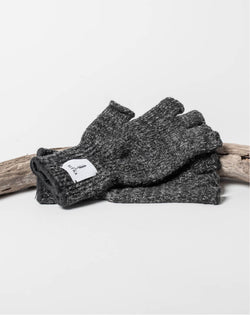 Sitka x Upstate Stock American Ragg Wool Fingerless Glove Black Melange Woven Label - Hero