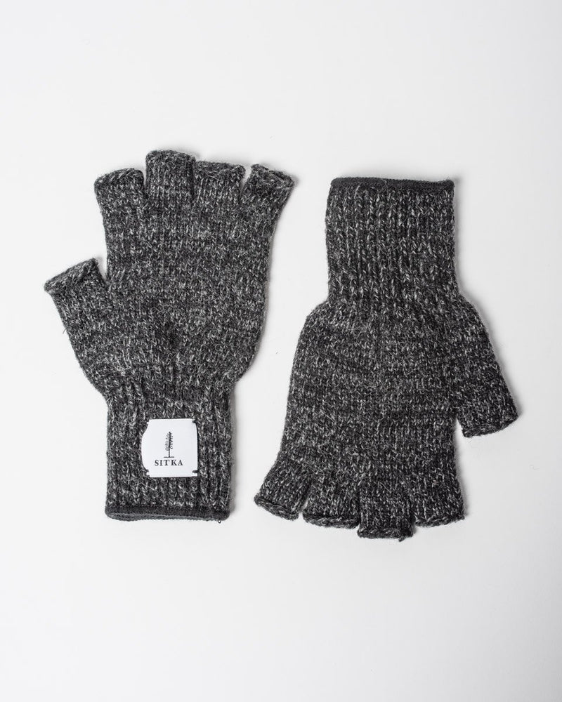 Sitka x Upstate Stock American Ragg Wool Fingerless Glove Black Melange Woven Label