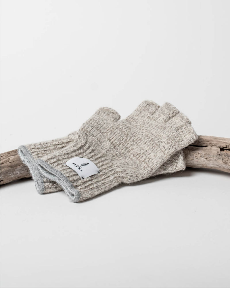 Sitka x Upstate Stock American Ragg Wool Fingerless Glove Oatmeal Melange Woven Label - Hero