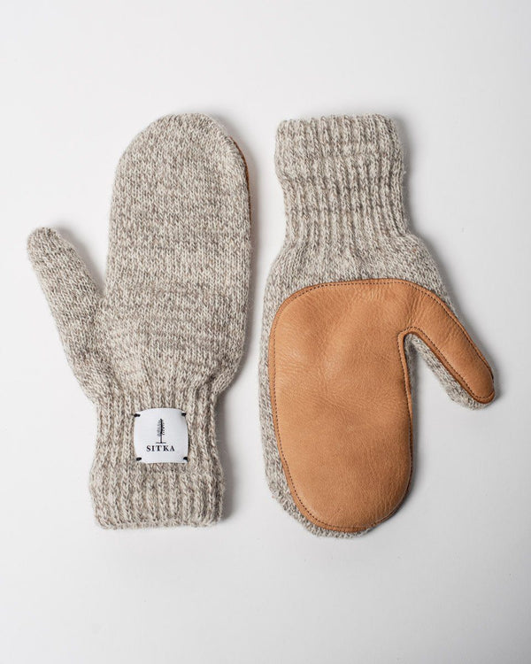 Sitka x Upstate Stock American Ragg Wool Deerskin Palm Leather Mitten Oatmeal Natural Woven Label - Oatmeal/Natural Deer