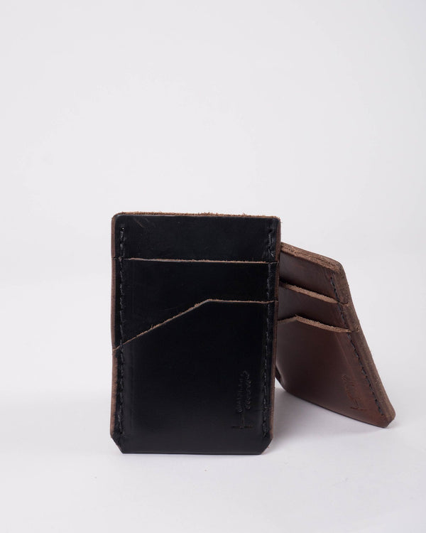 The Sitka Larson Populess Company Leather By-Product Embossed Sitka Tree Three Slot Card Carrier Money Clip - Black