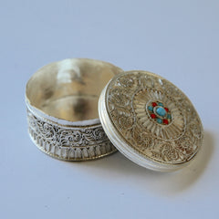 Round White Metal Fillagree Pill Box