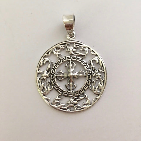 Sterling Silver Double Vajra Round Pendant with Flower Design