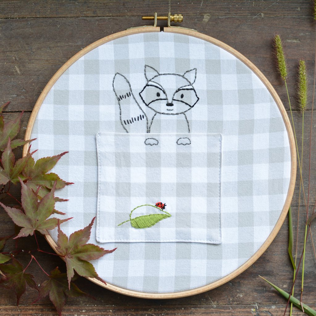 Woodland Raccoon - PDF digital embroidery pattern by Twig and Tale