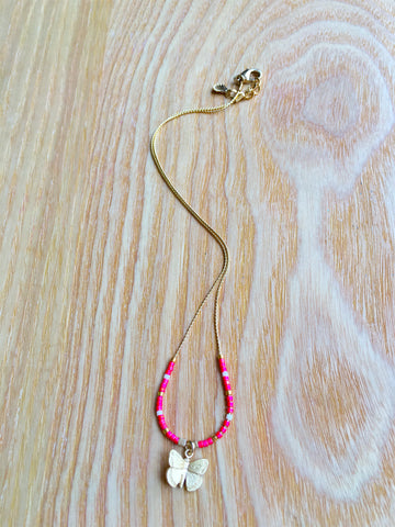 Necklace Butterfly pink