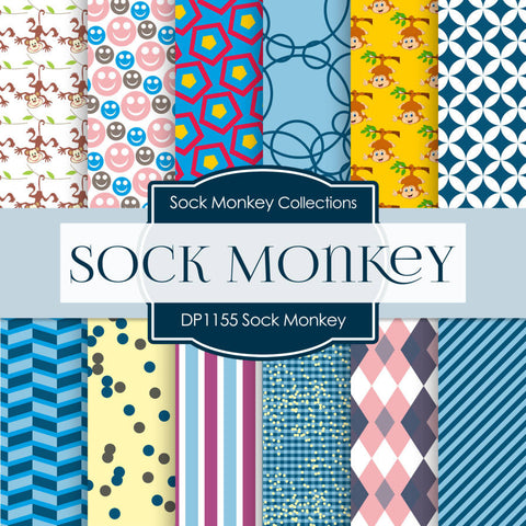 Sock Monkey Digital Paper DP1155 - Digital Paper Shop - 1