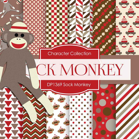 Sock Monkey Digital Paper DP1369 - Digital Paper Shop - 1