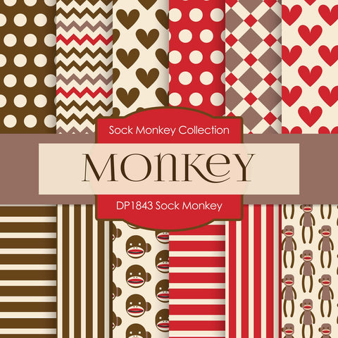 Sock Monkey Digital Paper DP1843 - Digital Paper Shop - 1