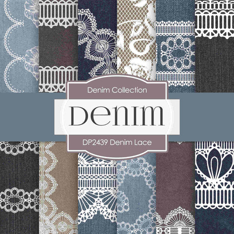 Denim Lace Digital Paper DP2439 - Digital Paper Shop - 1