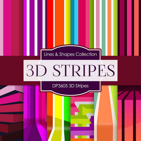 3D Stripes Digital Paper DP3605 - Digital Paper Shop - 1