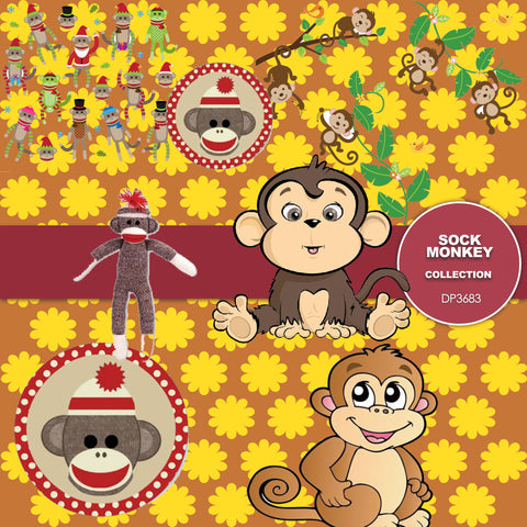 Sock Monkey Digital Paper DP3683 - Digital Paper Shop - 1