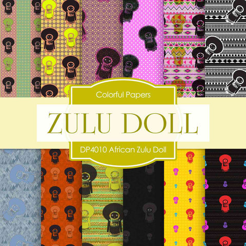African Zulu Doll Digital Paper DP4010 - Digital Paper Shop - 1