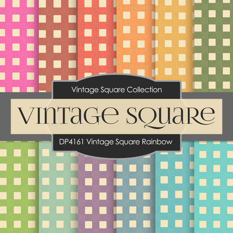 Vintage Square Rainbow Digital Paper DP4161