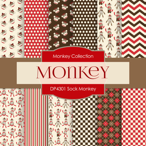 Sock Monkey Digital Paper DP4301A