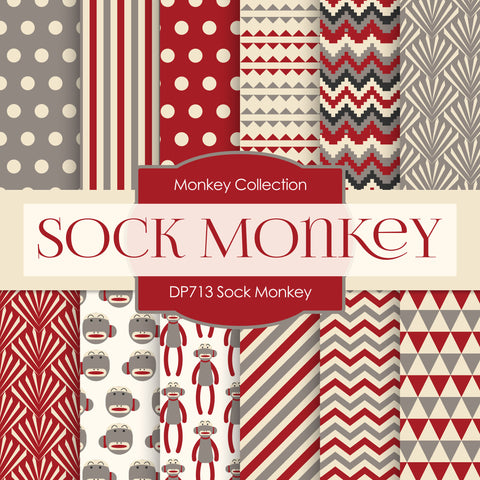 Sock Monkey Digital Paper DP713 - Digital Paper Shop - 1