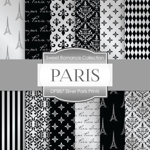 Silver Paris Prints Digital Paper DP887 - Digital Paper Shop - 1