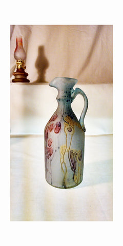 The Groom Pitcher - Phoenician Vase - Stains of Red Blue & Golden - Mystic Land Painted at Ownadore ; [Fancy_RetroStemware] - Own&Adore - Hebron Phoenician Glass - Olive oil, vinegar, dressing cruet pitcher and or vase