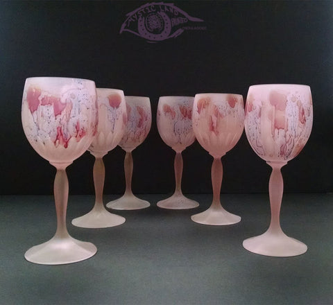 Crystal Stemware - Footed Glass - Love Fever Goblet - Brides Maids Personalized Pink Glass Cups - Pink Red Stemware ; Retro Stemware , vs Waterford. Fancy Christmas Family Gifts. Best Gifts for Grandma. Palestinian glass painting arts.