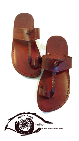 Palestinian handmade Leather Sandals and Shoes - Mystic Land Painted Creations Own&Adore Jarusalem Sandal - Toe Loop Thong Strap Leather Slipper