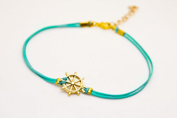Ship Wheel Cord Anklet