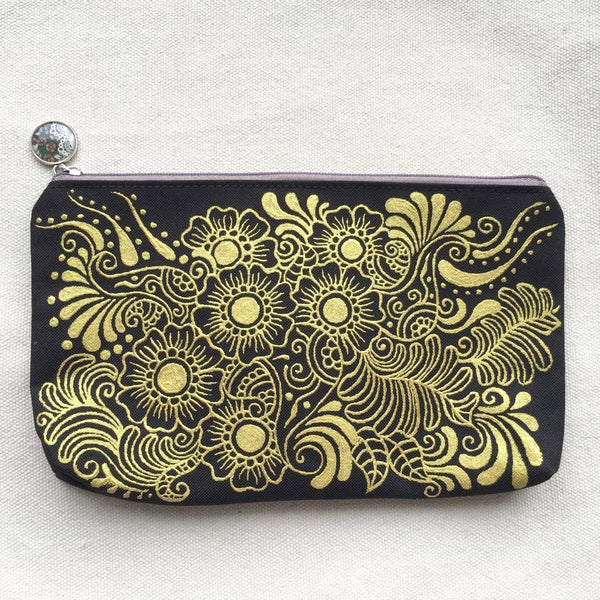 Henna Art Zipper Pouch (Black & Gold 2)