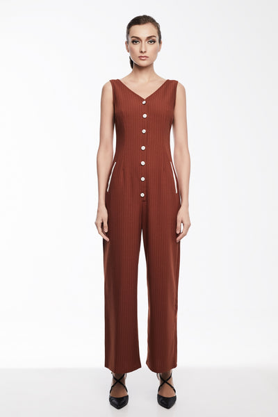 Grace Jumpsuit | Button down sleeveless jumpsuit