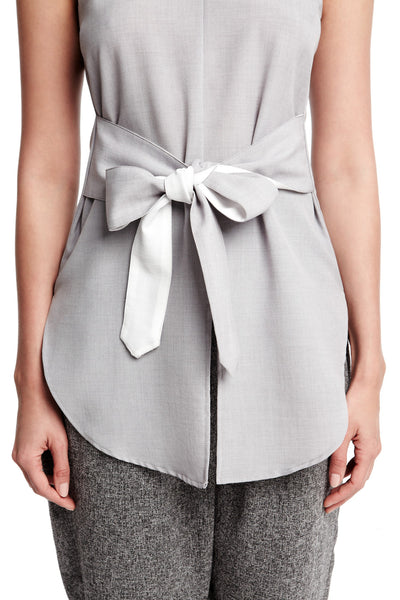 Drew Top in Light Grey | Tie front sleeveless top with tails