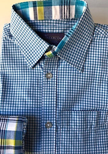Teal gingham with teal plaid
