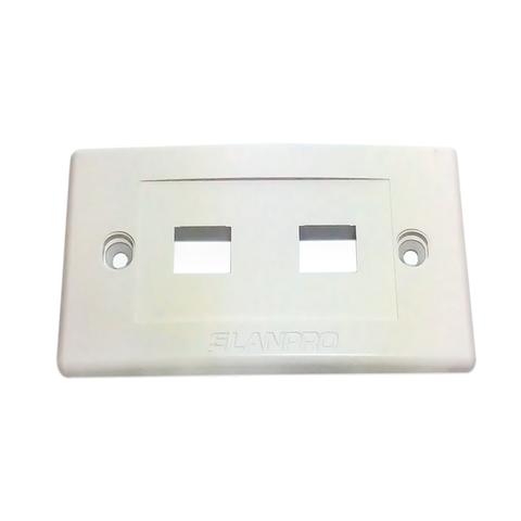 2-MODULE KEYSTONE ONE GANG WHITE WALL PLATE - LANPRO