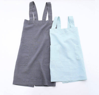 pair of 100% linen pinafore apron set with adult and children sizes grey charcoal light blue aqua colors