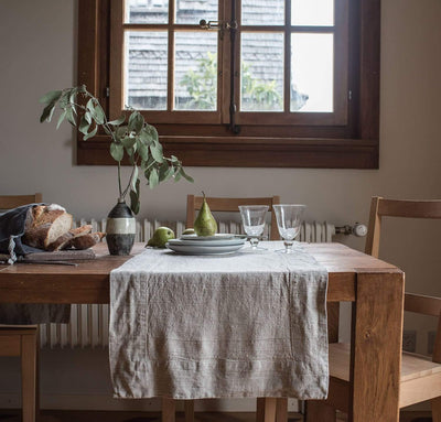 natural un-dyed raw flax linen table runner, all-natural, quality table linens