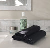 black linen wash cloth, fine spa quality exfoliating face cleansing towel, pure 100% linen