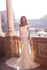 Dulce - White Off-Shoulder Satin Gown with Open Back & Mermaid Train
