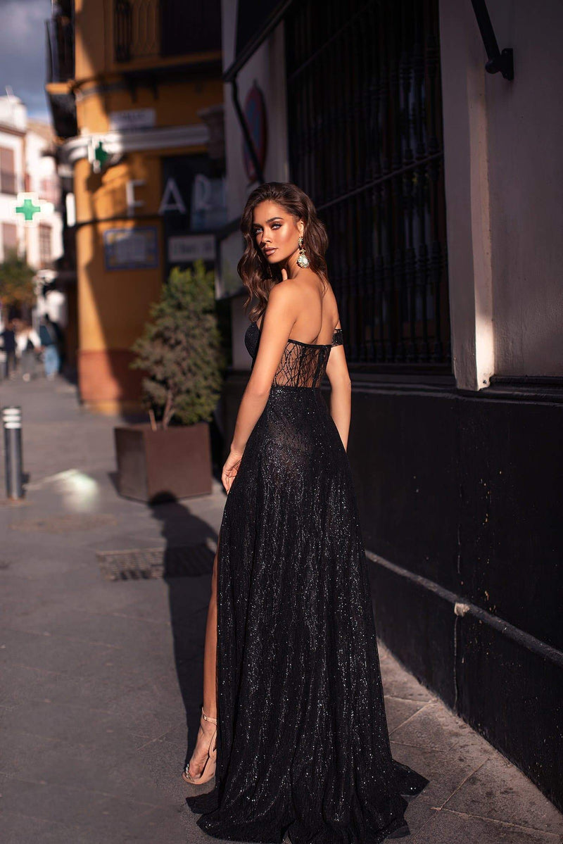 Ayelet - Black Strapless Glitter Gown with Off-Shoulder Sleeve & Slit