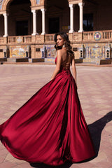 Loretta - Red Satin Gown with Plunge Neck, Front Slits & Lace-Up Back