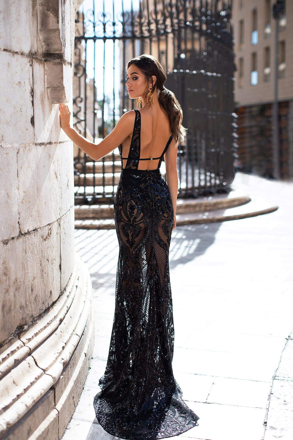 Elyse - Black Patterned Sequins Gown with Plunge Neck & Open Back