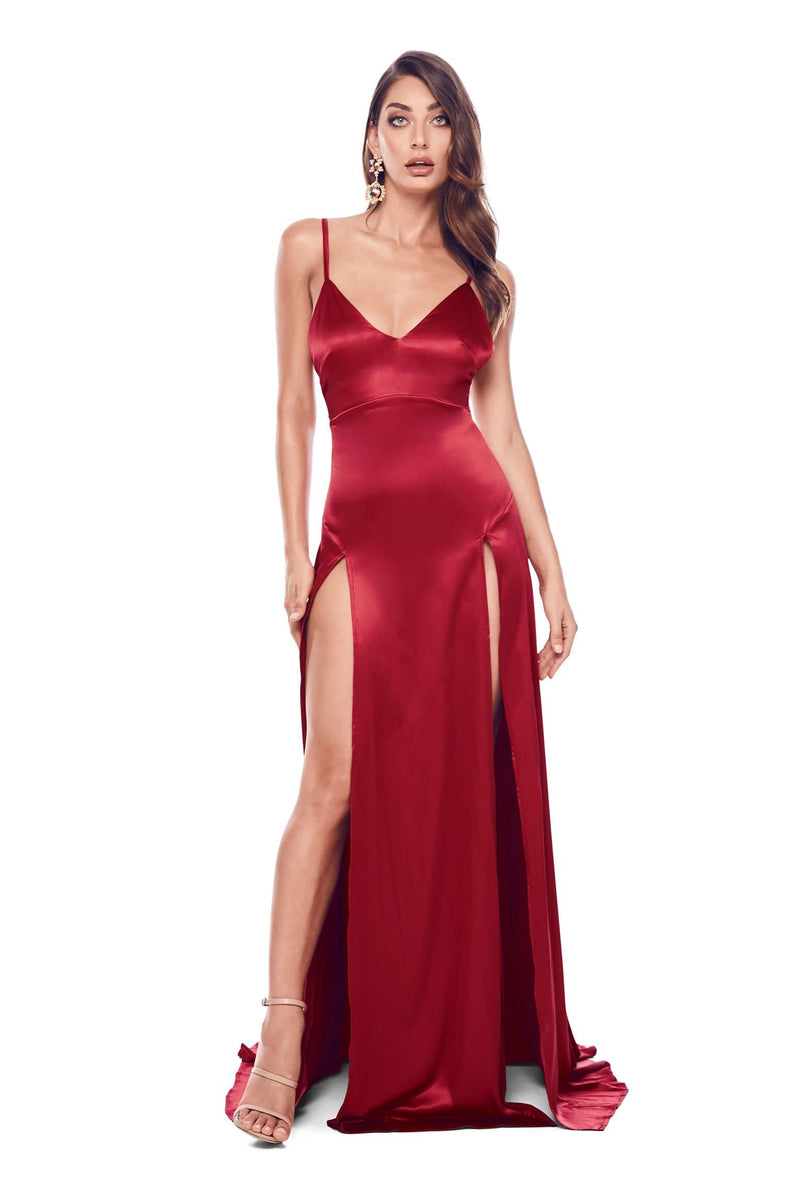 Alexis - Cherry Red Satin Gown with V Neckline & Two Side Slits