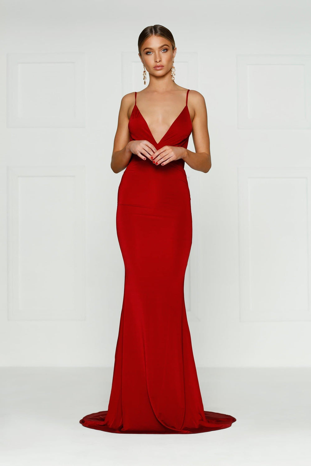 Selina - Wine Red Backless Jersey Gown with Plunge Neckline