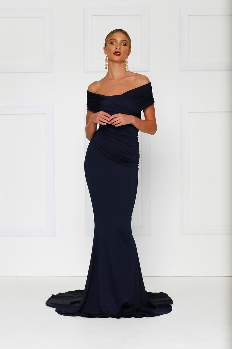 Campanule - Navy Jersey Gown | Off-Shoulder Sleeves & Mermaid Train