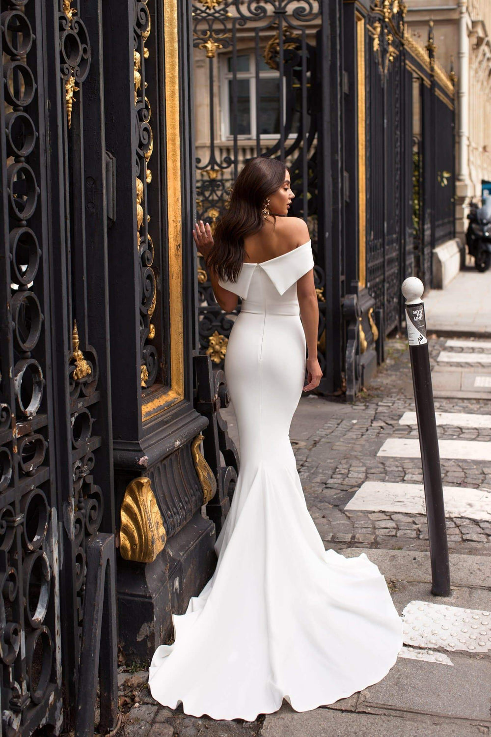 Abella - White Crepe Gown with Mermaid Train & Off Shoulder Straps