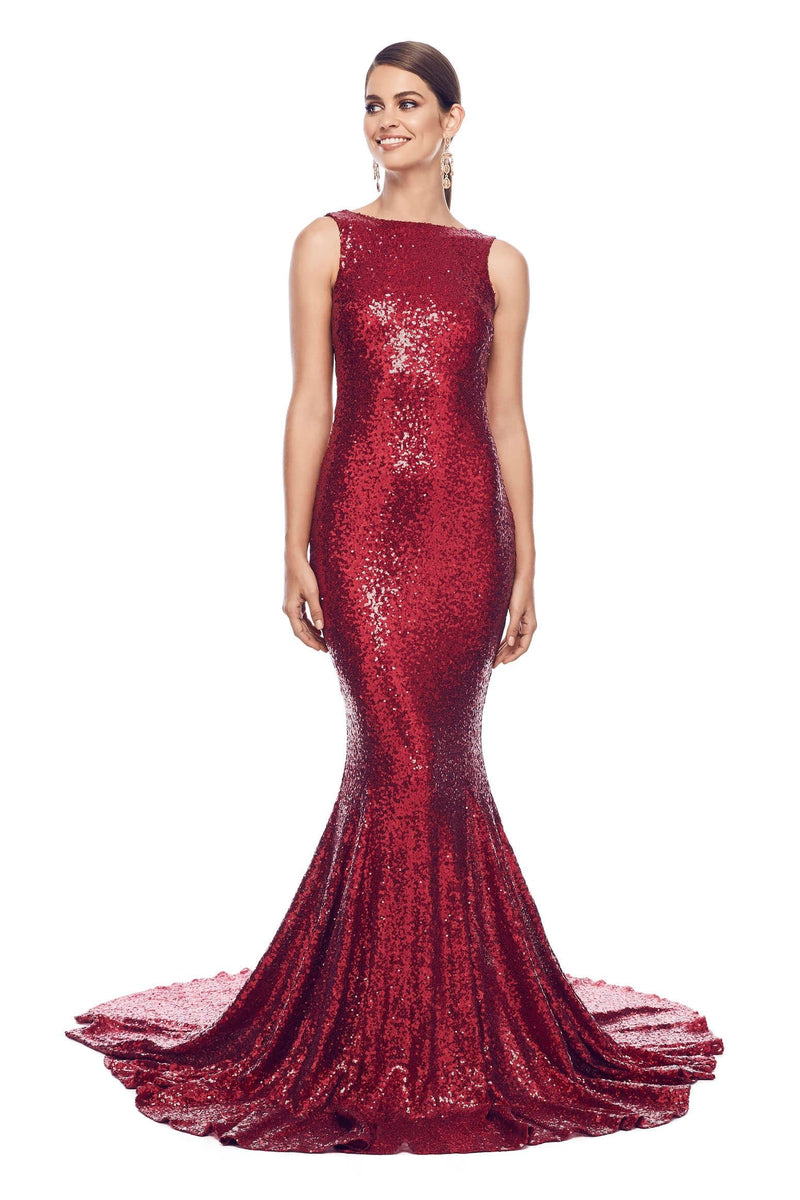 Stone - Wine Red Low Back Sequin Dress with High Neck & Mermaid Train