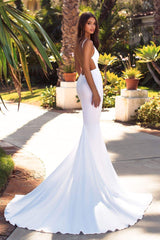 Tamara - White Satin Plunge Neck Gown with Low Back & Mermaid Train
