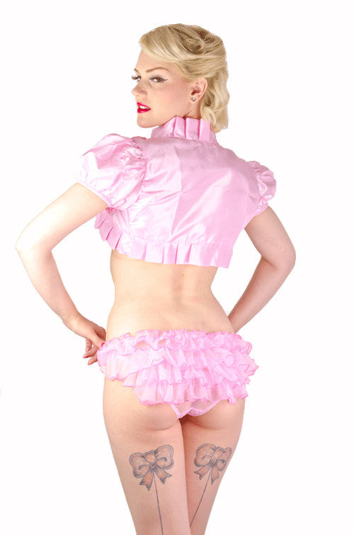Pinky Lace Up Frilly Knickers and Bra Set