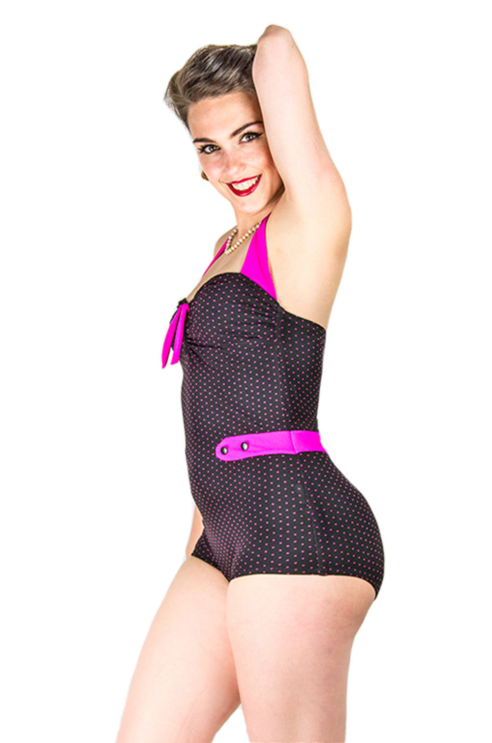 Luna Swimsuit BLack Pink Dots